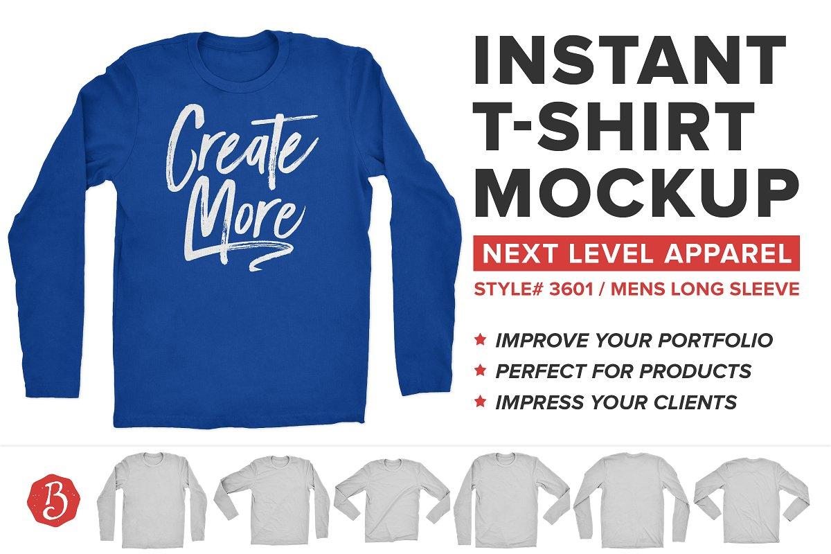 439335a92173 Next Level Long Sleeve Shirt Mockup ~ Product Mockups ~ Creative Market