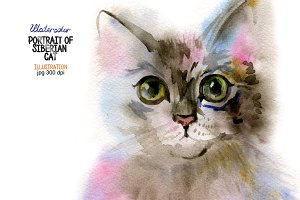 Watercolor Siberian cat
