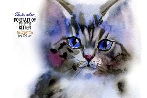 Watercolor fluffy kitten