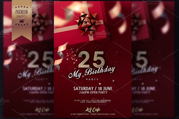 birthday invitation flyer invitation templates creative market