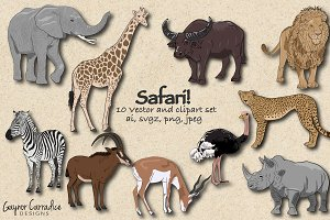 Safari Animals vector set