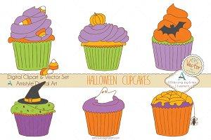 Halloween Cupcakes Clipart&Vector