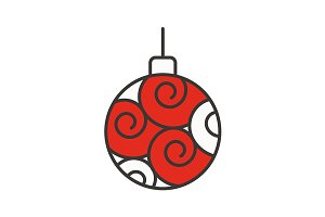 Christmas tree ball icon. Vector