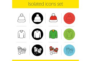 Winter clothes. 12 icons. Vector