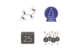 Christmas. 4 icons set. Vector