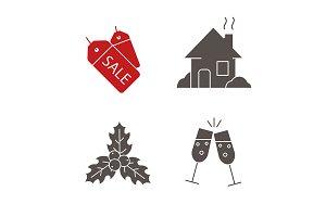 Christmas. 4 icons set. Vector