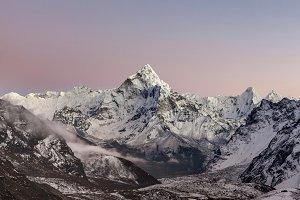 Sunset over mt. Ama Dablam. Nepal.