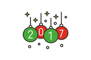 2017 Christmas tree balls. Vector
