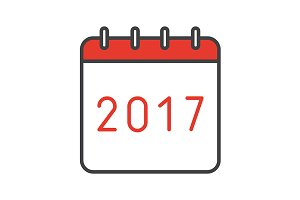 New Year 2017 calendar icon. Vector