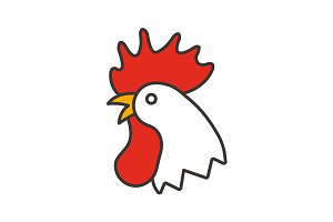 Rooster color icon. Vector