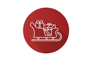 Santa Claus sleigh icon. Vector