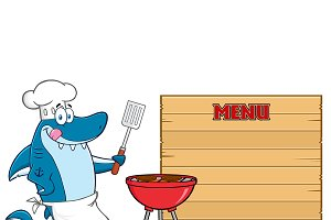 Chef Blue Shark Mascot Character