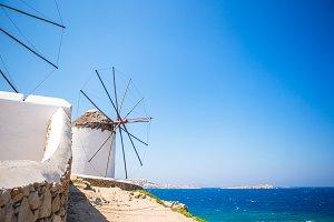 Scenic view of traditional greek windmills on Mykonos island, Cyclades, Greece