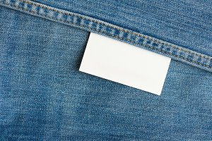 White label on jeans