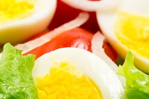 Boiled eggs and cherry tomatoes