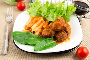 Tasty and hot dish of beef goulash