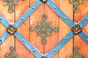Closeup of brass handle of old wood door