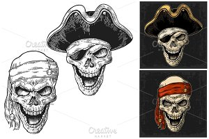 Skull in pirate hat and bandana