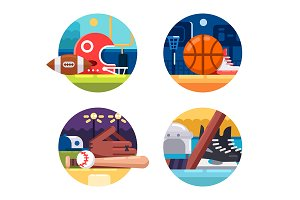 Colored icons popular sports