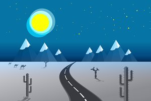 picture of desert road, cacti,