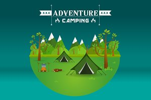 Hiking and camping. Vector