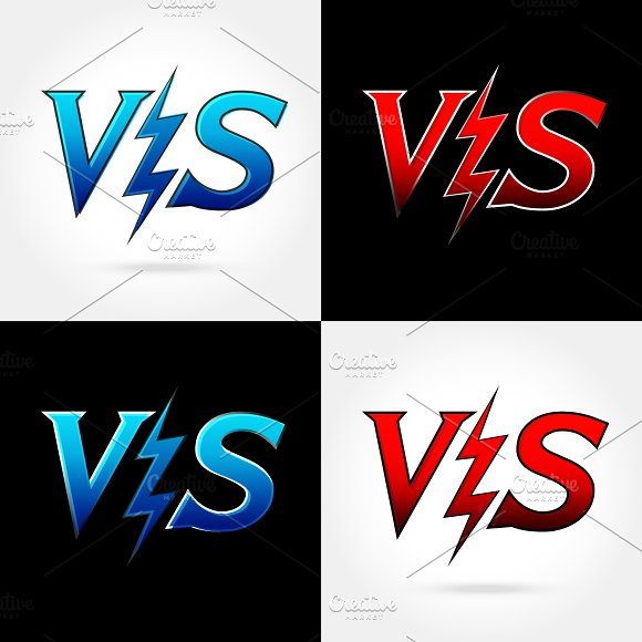 Versus letters or vs logo isolated