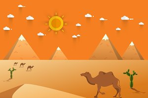 Egyptian great pyramids with camel