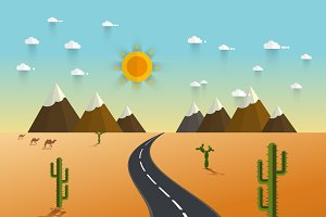picture of desert road, cacti