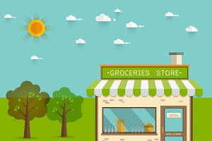 groceries store ,Vector illustration