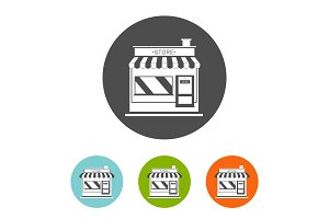 set of flat store icon
