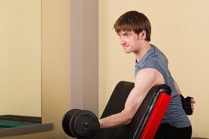 Man doing exercise biceps