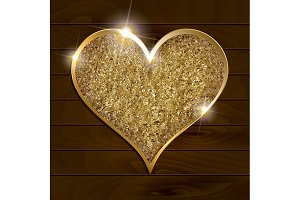 5 Gold hearts on a dark background
