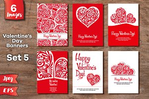 Set of 6 Valentine's day banners №7