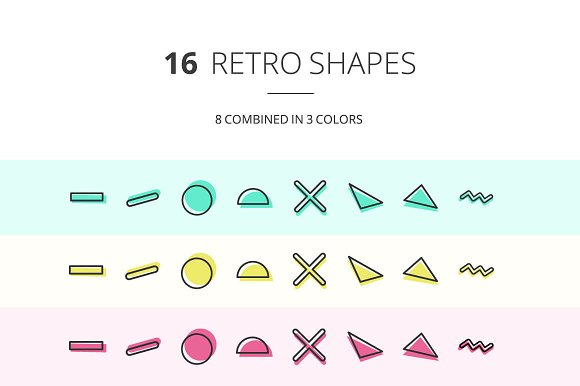 90s inspired Retro Shape Icons  in Icons - product preview 1