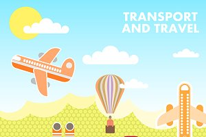 Transport and Travel vector template