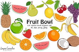 14 fruit vector elements and clipart