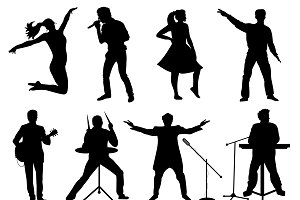 Set of silhouettes of musicians