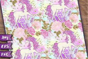 Unicorn seamless patterns set 2