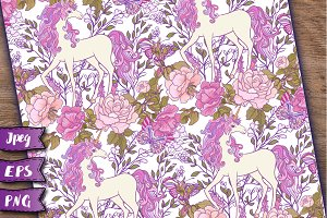 Unicorn seamless patterns set