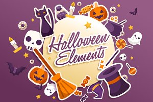 Big Set of Halloween Elements