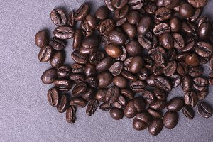 Coffee beans on textile covering