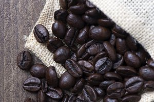 Coffee beans in textile pouch