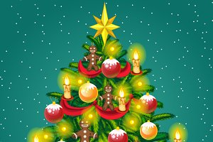 Christmas tree with gingerbread men