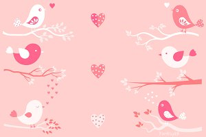 Valentine's day birds and branches