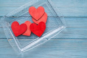 Glass tray with red hearts