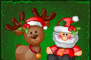 Deer, Santa Claus and snowman