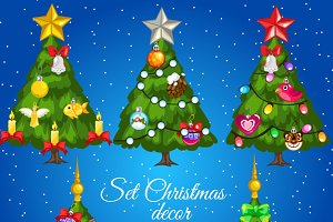 Five decorated Christmas trees