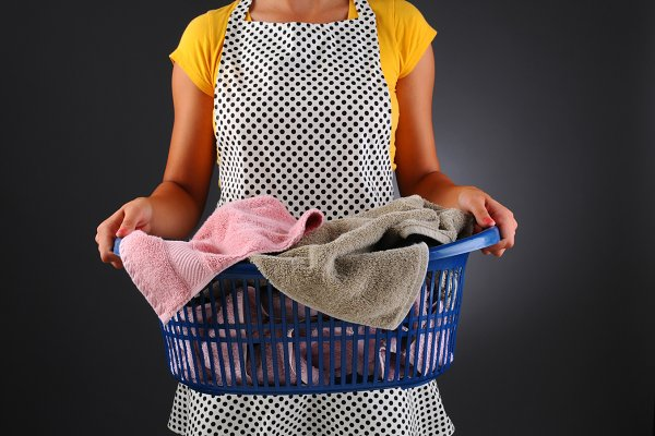 Housewife with Laundry Basket