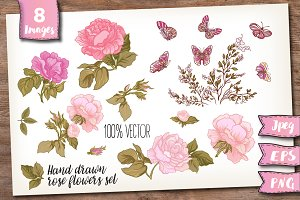 Pink roses and butterflies set