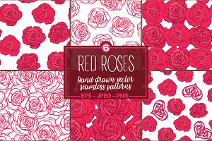 Red Roses seamless patterns set